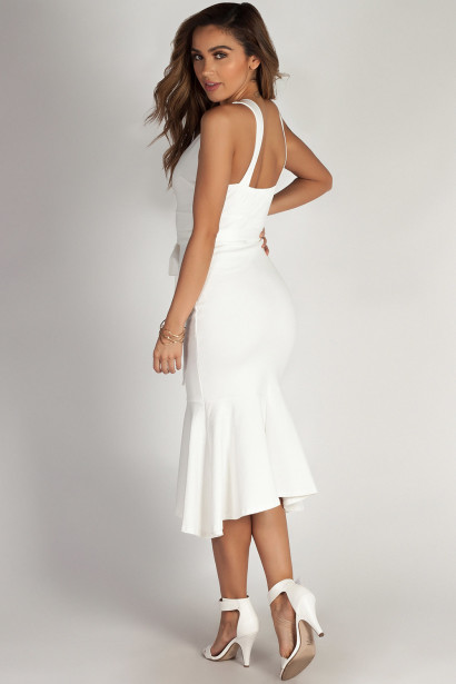 """""""You Don't Have To Call"""" White Fit & Flare Waist Tie Maxi Dress"""