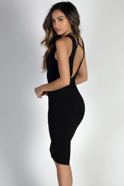 """Run the World"" Black Multi-Strap Deep V Black Midi Dress"