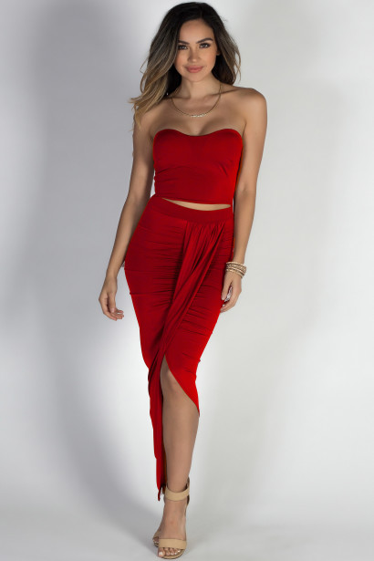 """""""Isadora"""" Red Strapless Cut Out Draped Maxi Dress"""