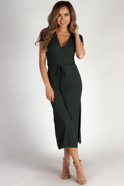 """""""Next To You"""" Pine Green Ribbed Wrap Dress"""