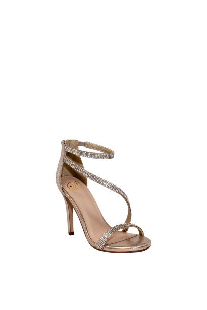 """Passion"" Gold Shimmery Rhinestone Strap Open Toe High Heel"