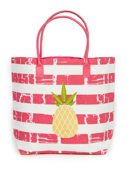 Pink Stripe Pineapple Beach Bag