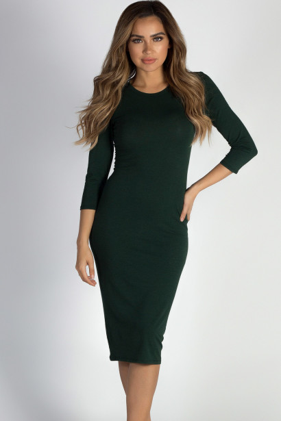 """""""All The Right Things"""" Pine Tree Green 3/4 Sleeve Midi Dress"""