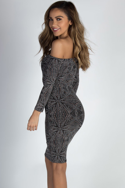 """""""See You Again"""" Bronze & Silver Shimmer Long Sleeve Dress"""