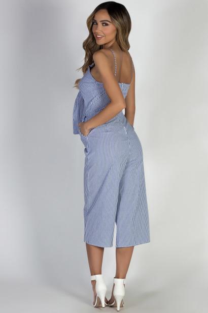 """""""Wanderer"""" Blue Striped Open Midriff Wide Leg Jumpsuit"""