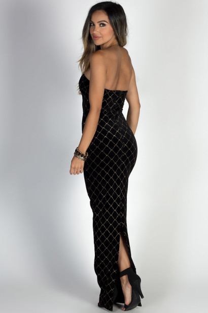 """Masquerade"" Black & Gold Diamond Pattern Strapless Velvet Maxi Gown"