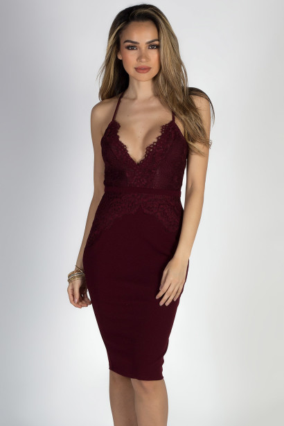 """All of Me"" Burgundy Wine Strappy Lace Back Midi Cocktail Dress"
