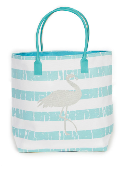 Mint Flamingo Beach Bag