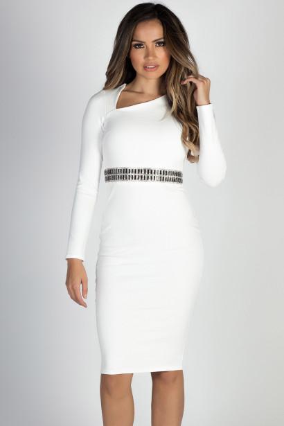 """Winter Wonderland"" White Long Sleeve Jeweled Waist Cocktail Dress"