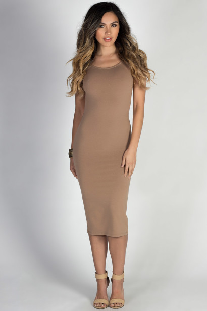 """One & Only"" Taupe Scoop Back Short Sleeve Midi Dress"