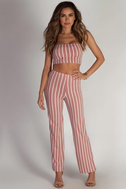 """Free At Last"" Mauve Striped Cropped Tube Top & Pants Set"