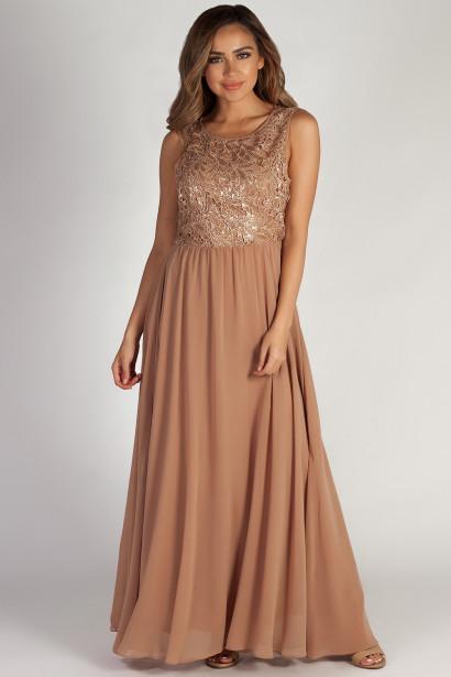 """Sweet Bliss"" Dark Champagne Sleeveless Crochet Lace Maxi Dress"