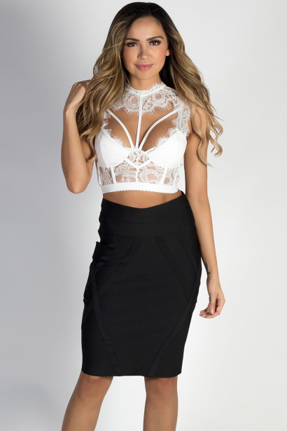 """Stay Gold"" Black Bodycon Bandage Skirt"