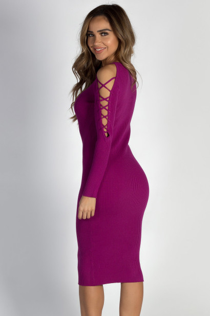 """""""Holding On"""" Plum Lace Up Sleeve Sweater Dress"""