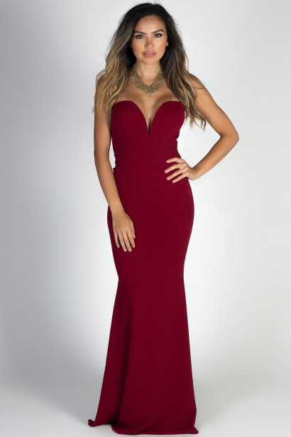 """""""Beauty Icon"""" Burgundy Strapless Sweetheart Mermaid Maxi Gown"""