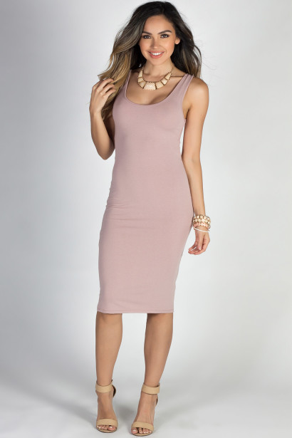 """No Regrets"" Mauve Scoop Back Bodycon Tank Dress"