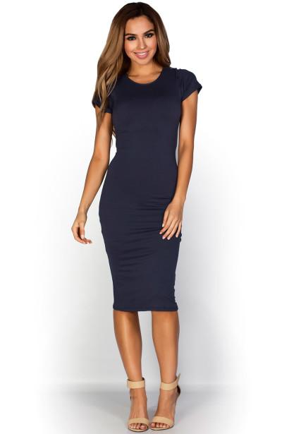 """Elise"" Navy Blue Short Sleeve Bodycon T Shirt Midi Dress"