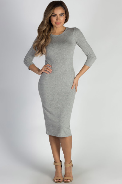 """All The Right Things"" Heather Grey 3/4 Sleeve Midi Dress"