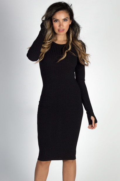 """Never Forget You"" Black Long Sleeve Midi Thumb Hole Sweater Dress"