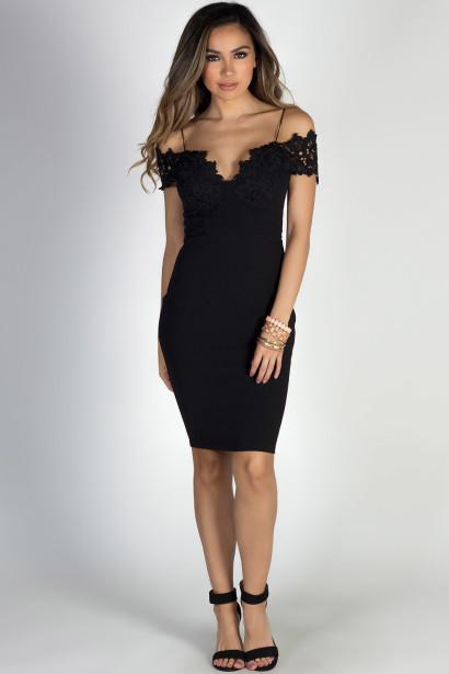 """Blissful Beauty"" Black Floral Lace Off Shoulder Bodycon Midi Dress"