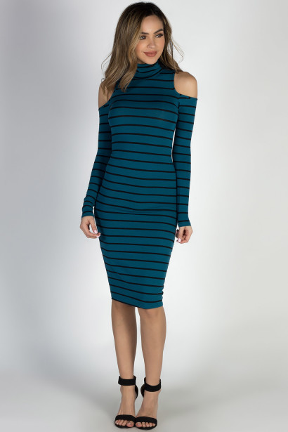 """Whatever She Wants"" Teal & Black Striped Cold Shoulder Midi Dress"