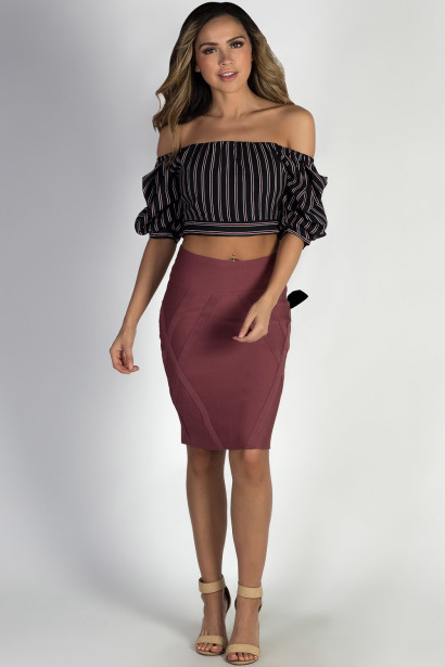 """Stay Gold"" Dark Mauve Bodycon Bandage Skirt"