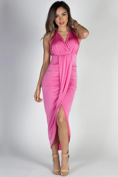 """Birthday Girl"" Pink Glamorous Draped Halter Maxi Dress"