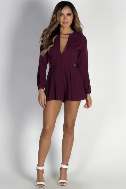 """Radiance"" Burgundy Long Sleeve Chiffon Romper"