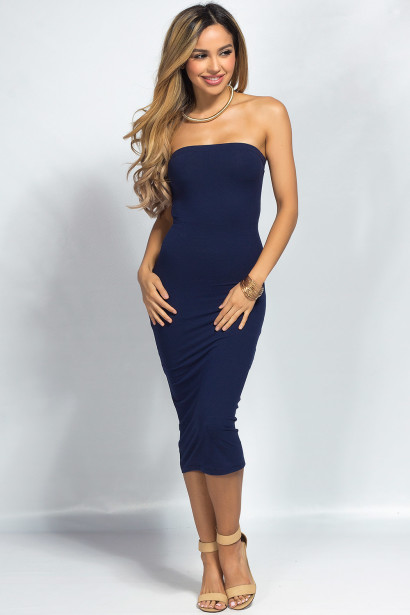 """Camella"" Navy Jersey Bodycon Midi Tube Dress"