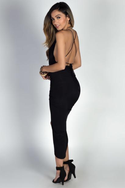 """Lorenza"" Black Strappy Backless Midi Dress with Thigh High Slit"