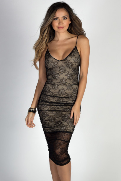 """My Romance"" Black Lace Strappy Ruched Midi Dress"