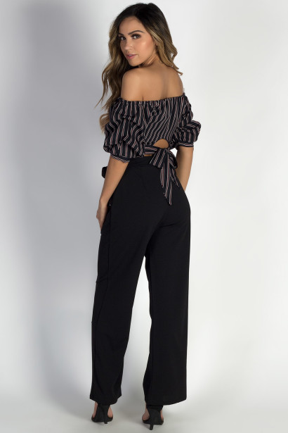 """Casablanca"" Black Wide-Leg Pants"