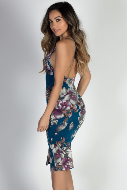 """Live It Up"" Teal Floral Print Strappy Midi Slip Dress"