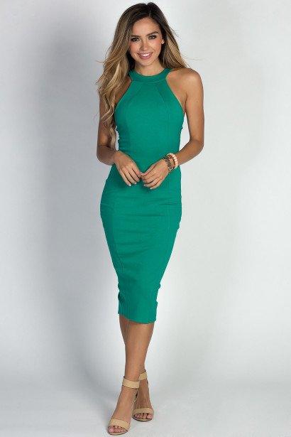 """Amelie"" Emerald Simple Elegant Cage Back Bodycon Halter Cocktail Dress"
