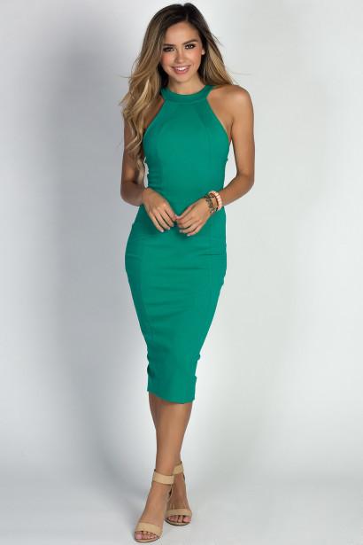 """Amelie"" Emerald Simple Elegant Cage Back Bodycon Halter Cocktail Dress"