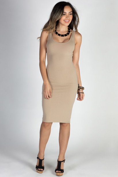 """No Regrets"" Taupe Scoop Back Bodycon Tank Dress"