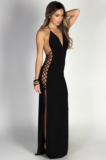 """Jazzmyn"" Black Side Lace Up Maxi Halter Dress"