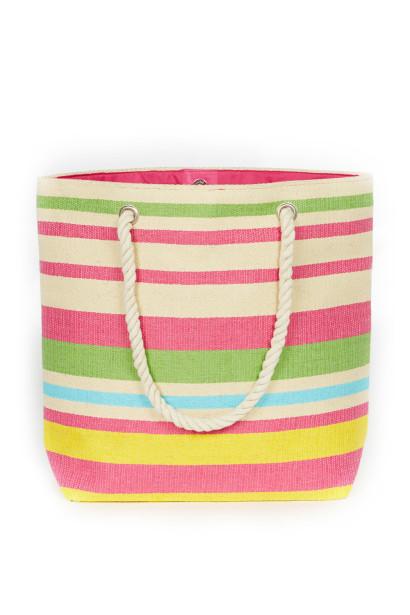 Rainbow Striped Beach Bag