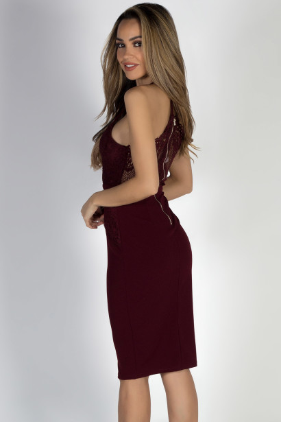"""""""All of Me"""" Burgundy Wine Strappy Lace Back Midi Cocktail Dress"""