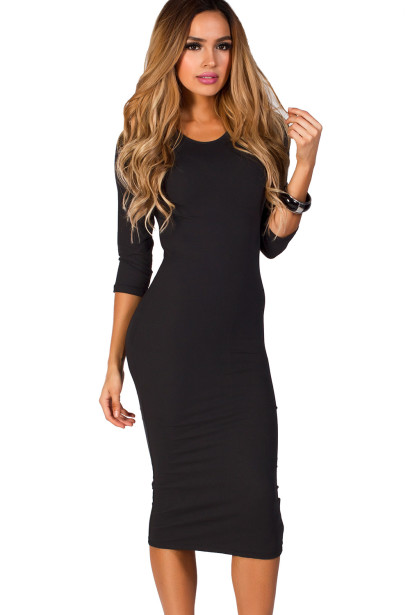 """Margo""  Black 3/4 Sleeve Jersey Bodycon Midi Dress"