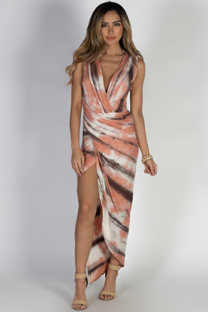 """Be Joyful"" Coral Tie Dye Maxi Dress"