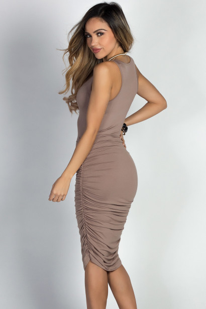 """Fabiola"" Taupe Ruched Bodycon Jersey Tank Midi Dress"