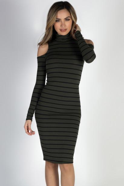 """Whatever She Wants"" Olive & Black Striped Cold Shoulder Midi Dress"