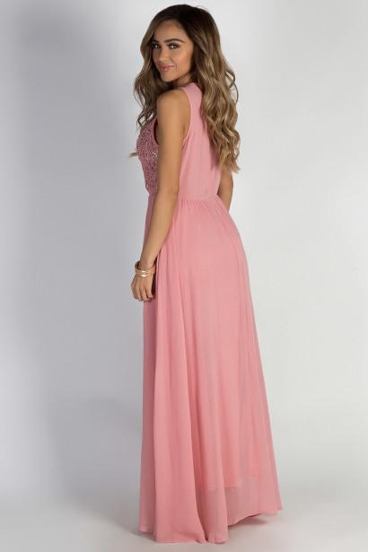 """Sweet Bliss"" Pink Sleeveless Crochet Lace Maxi Dress"