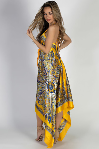 """Mimosas & Sunshine"" Yellow Print Scarf Dress"