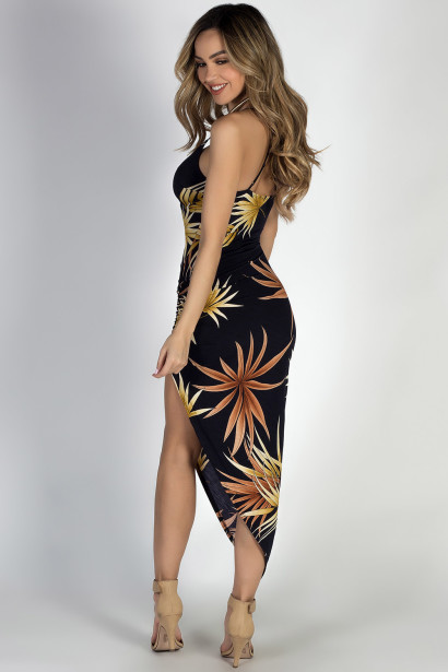 """Towards the Sun"" Navy Print Thigh High Slit Midi Dress"