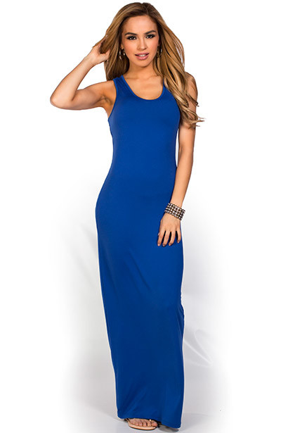 """Qadira"" Royal Blue Casual Racerback Jersey Maxi Dress"