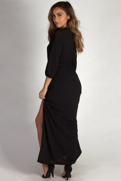"""Say Something"" Black Long Sleeve V-Neck Maxi Dress"