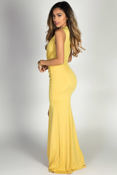 """Jessica"" Yellow Sleeveless Plunging Deep V Glam Maxi Dress"