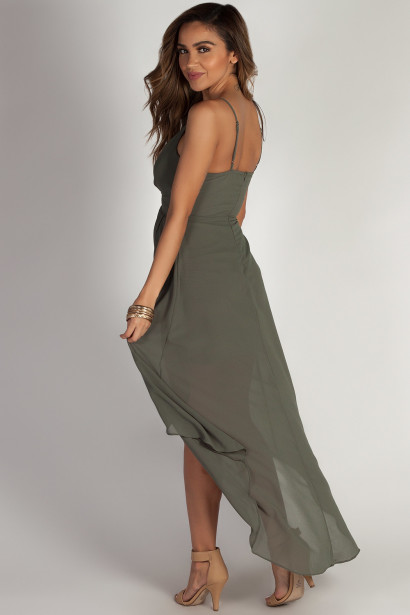 """Ain't Gotta Say Too Much"" Dark Sage Chiffon Midi Wrap Dress"